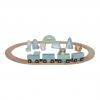 Holz-Eisenbahn mit Schienen - adventure blau